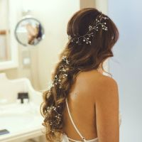 Long delicate pearl and Swarovski cream white bridal hair vine-0- 1- Aaliya-L