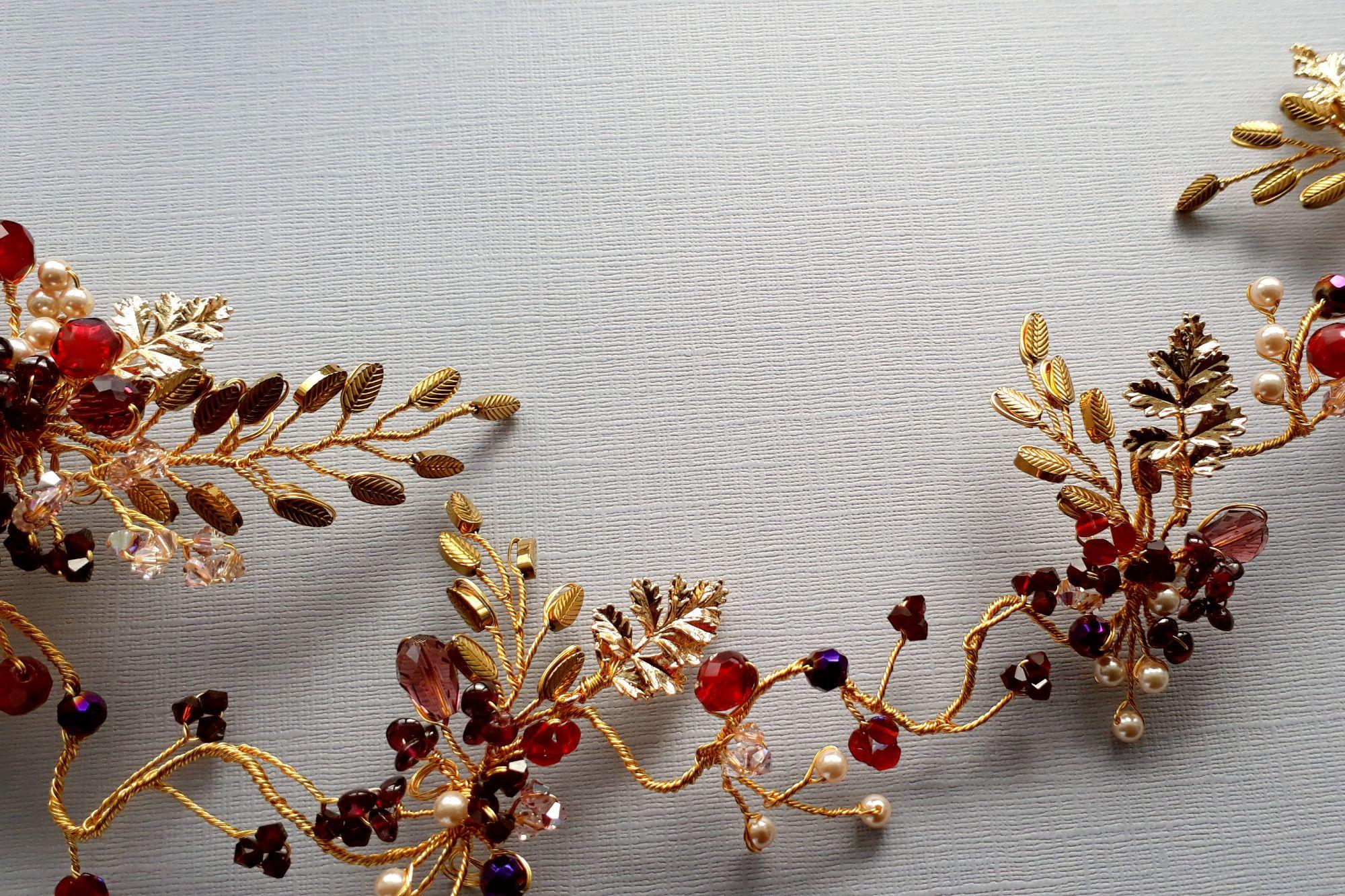 Autumnal-18kgoldleaf-bridal hair vine head piece accessory-UK-SRA004