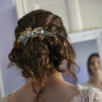 Signature occasion headpiece with golden maple leaf-0A-BBS-Aurora Green