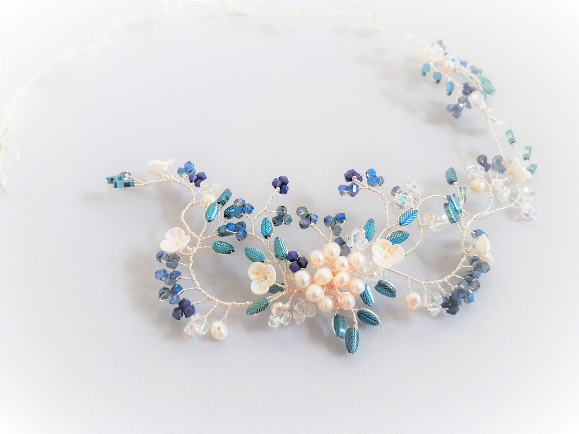 Blue-custom made bridal hair accessory-Fonda.5