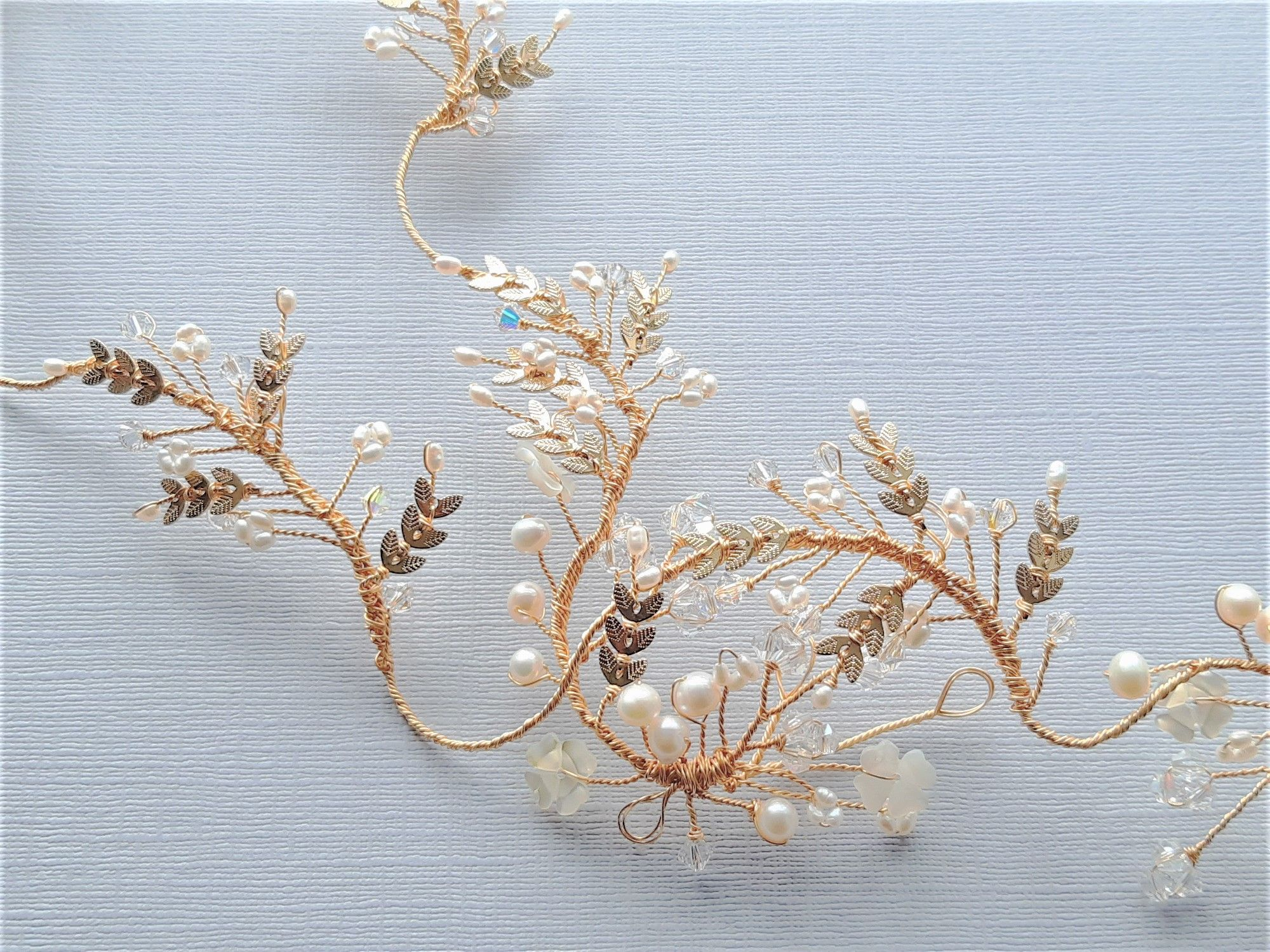 gold leaf+ white flower head garland by Beady Bride-UK-ESME-3