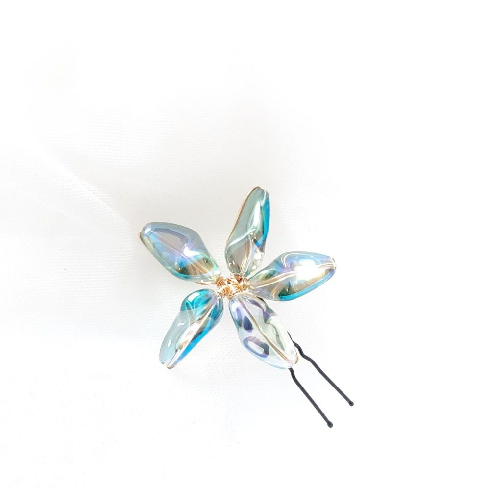 1-ac-3-Melba Star Aurora flower hair pin