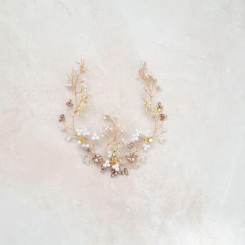 0A-BBS-Lyla-Pearl, Swarovski & yellow gold leaf hair vine accessory