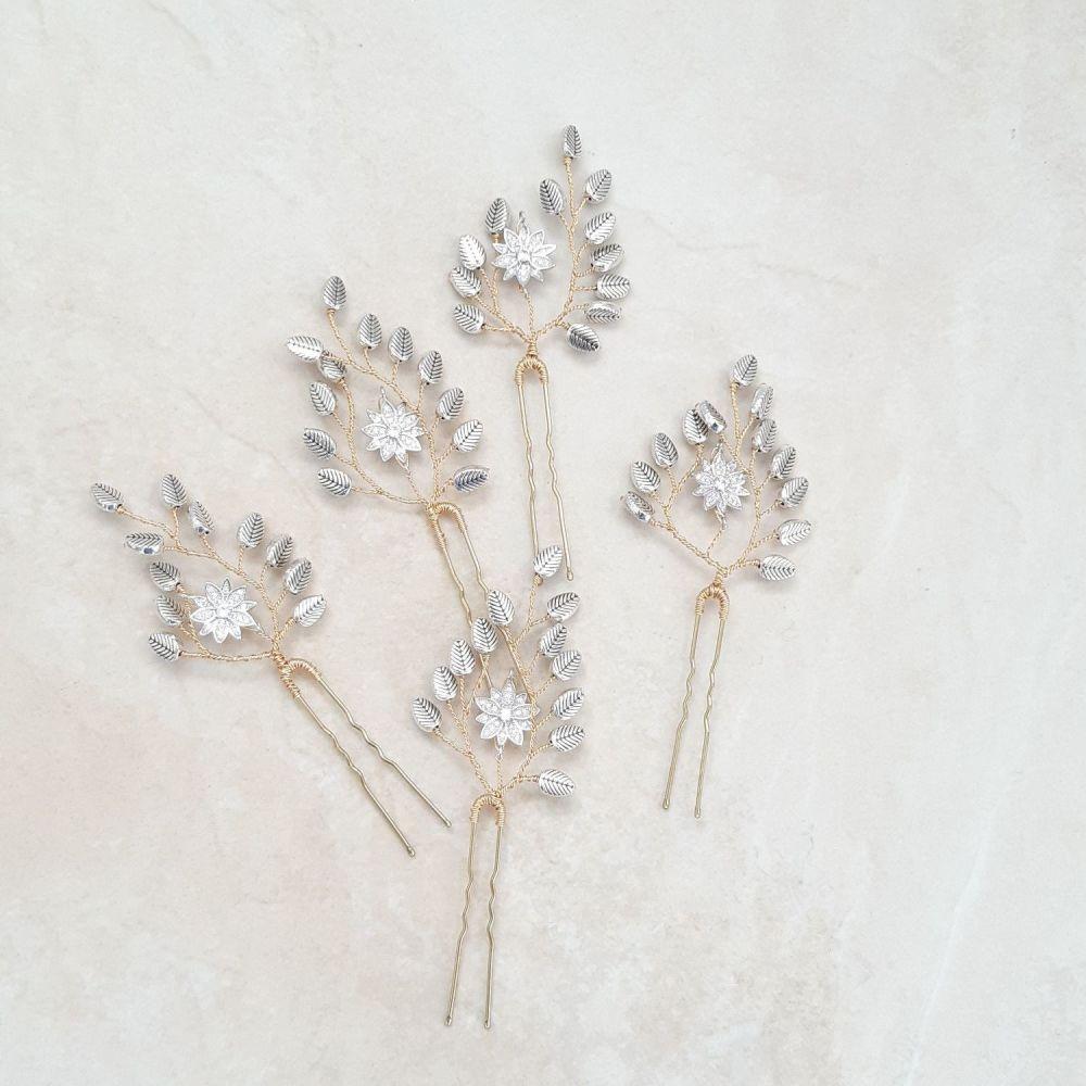 0A-BBS-Robyn1-Rustic antique silver leaf hair pin
