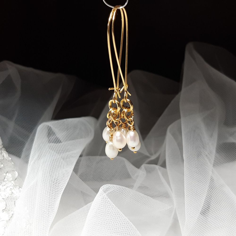 Pearl and gold filled wedding earrings-KRMFWPRLGFD6