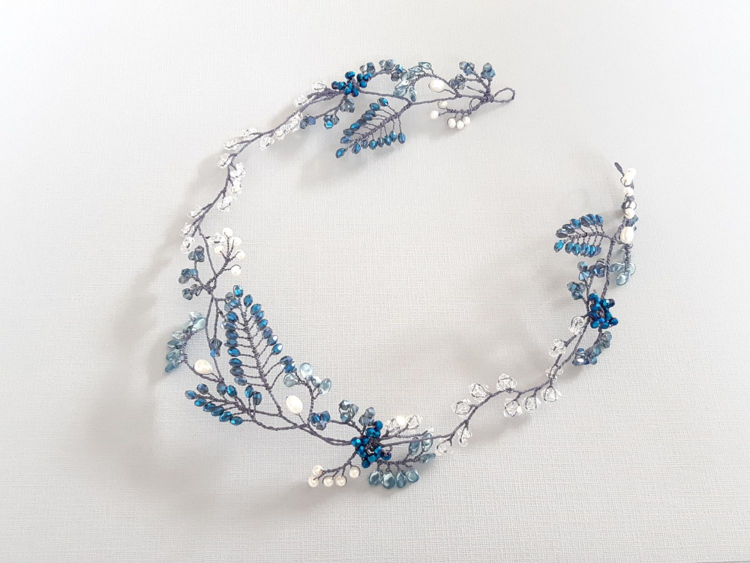 Handmade blue and white floral bridal headpiece-Gloucestershire-UK-Cleopatr
