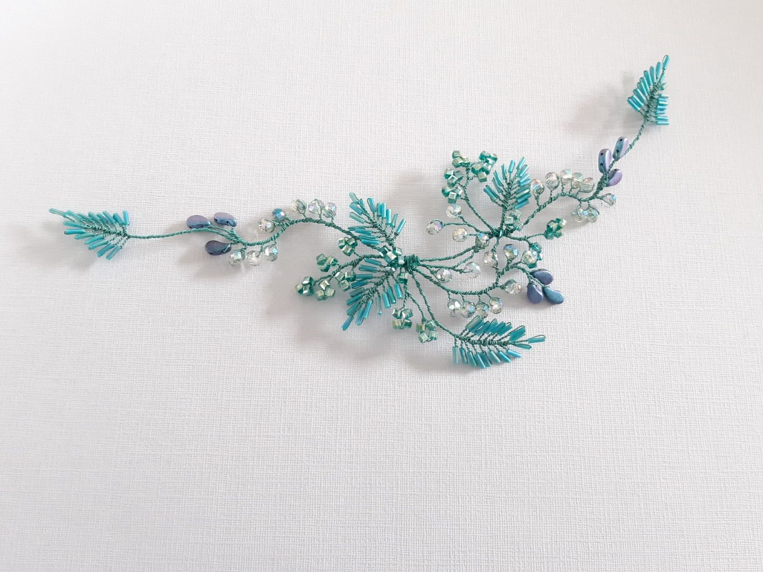 Handmade teal colour floral occasion headpiece-Gloucestershire-UK-Lydia2-4