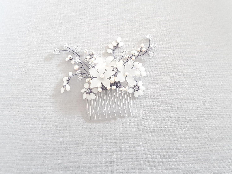 Handmade white flower-floral bridal hair comb accessories-UK-Nikita2.1
