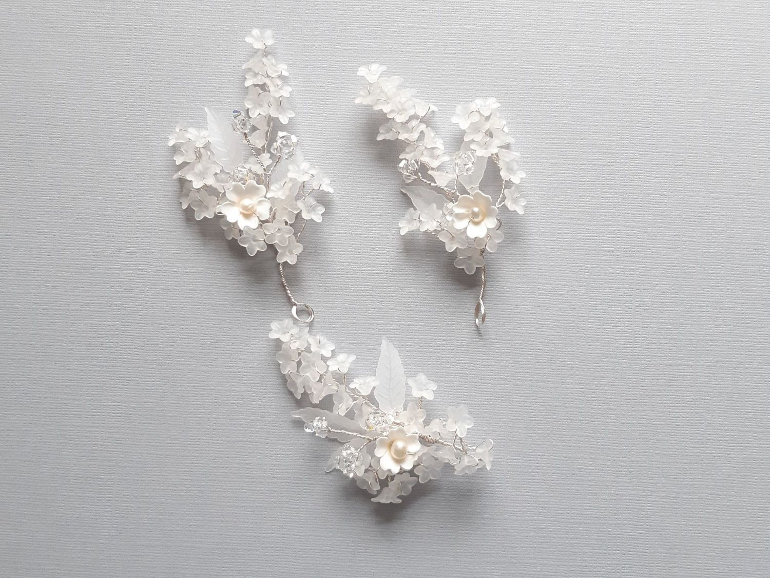 Frosted flowers and leaf bridal hair pins-Bess-2