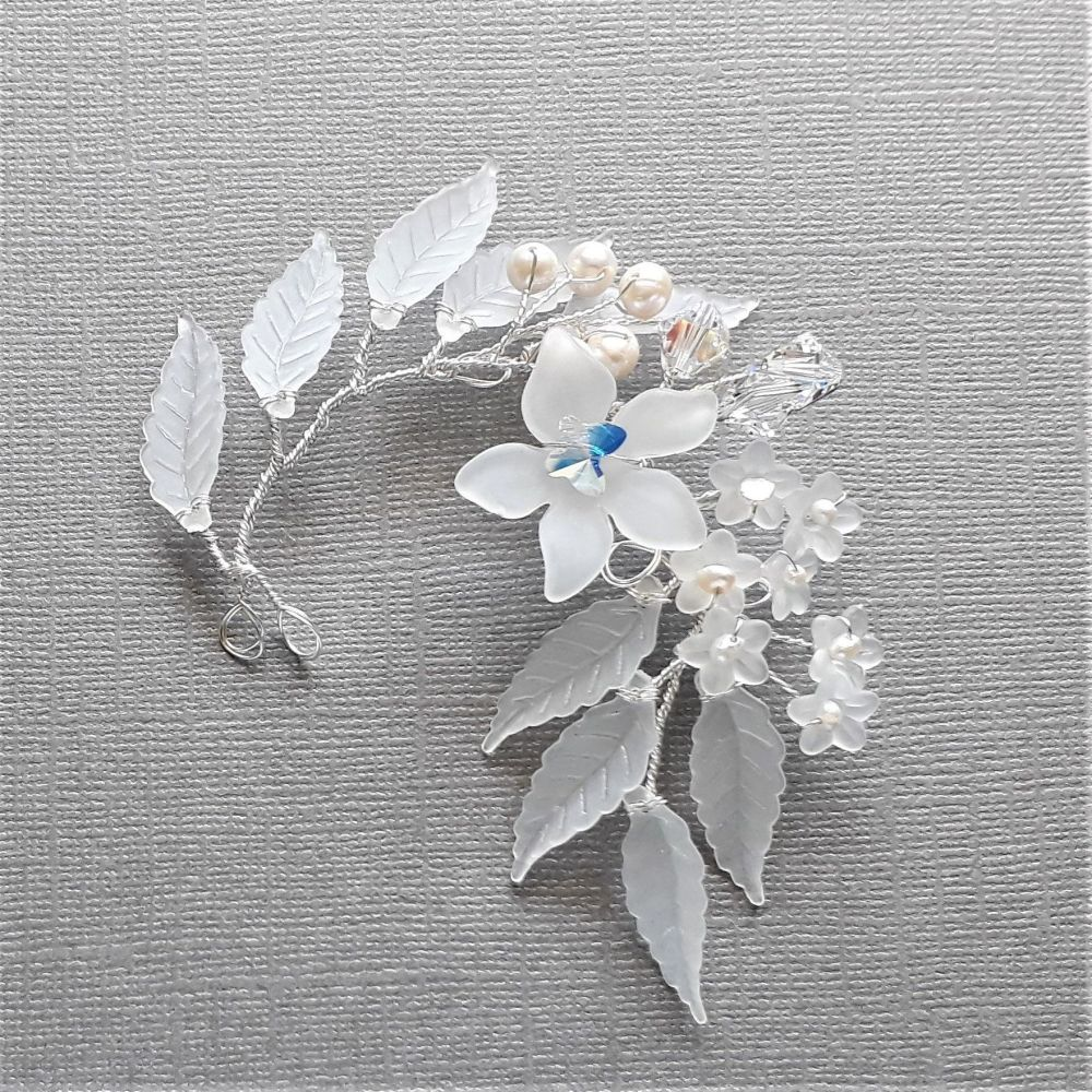 A Swarovski crystal & pearl hair pin with cream white frosted flowers & leaves-1-ac-3-Brenda