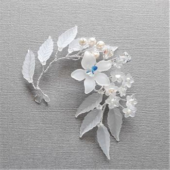 1-ac-3-Brenda - Swarovski crystal & pearl hair pin with frosted leaves and flowers