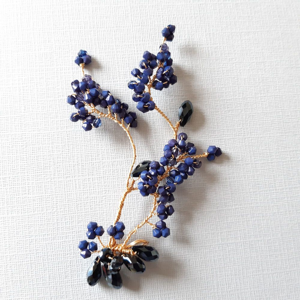 1-ac-3-Navy blue crystal hair pin-Mona