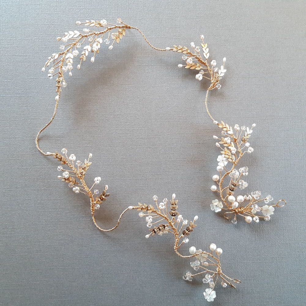 0A-BBS-Esme-delicate gold filled leaf +pearl flower head garland