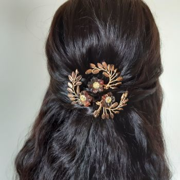Signature leaf & autumnal flower hair pins-0A-BBS-Felicity