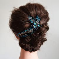 Blue leaf delicate occasion hair accessory-0A-BBS-Anne-1