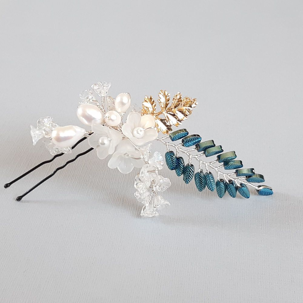 Signature leaf bridal hair pin-Carmel.1