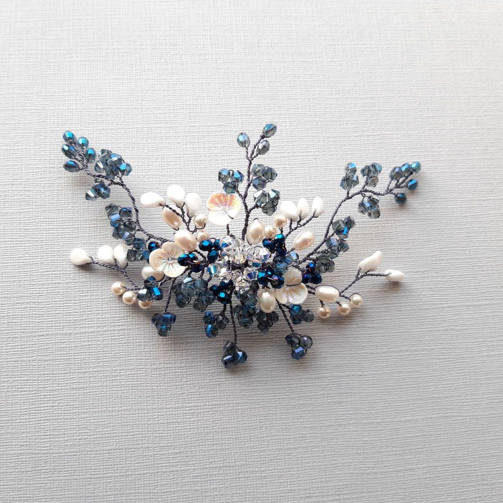 Pearl and blue bridal hair accessory-camilla.1