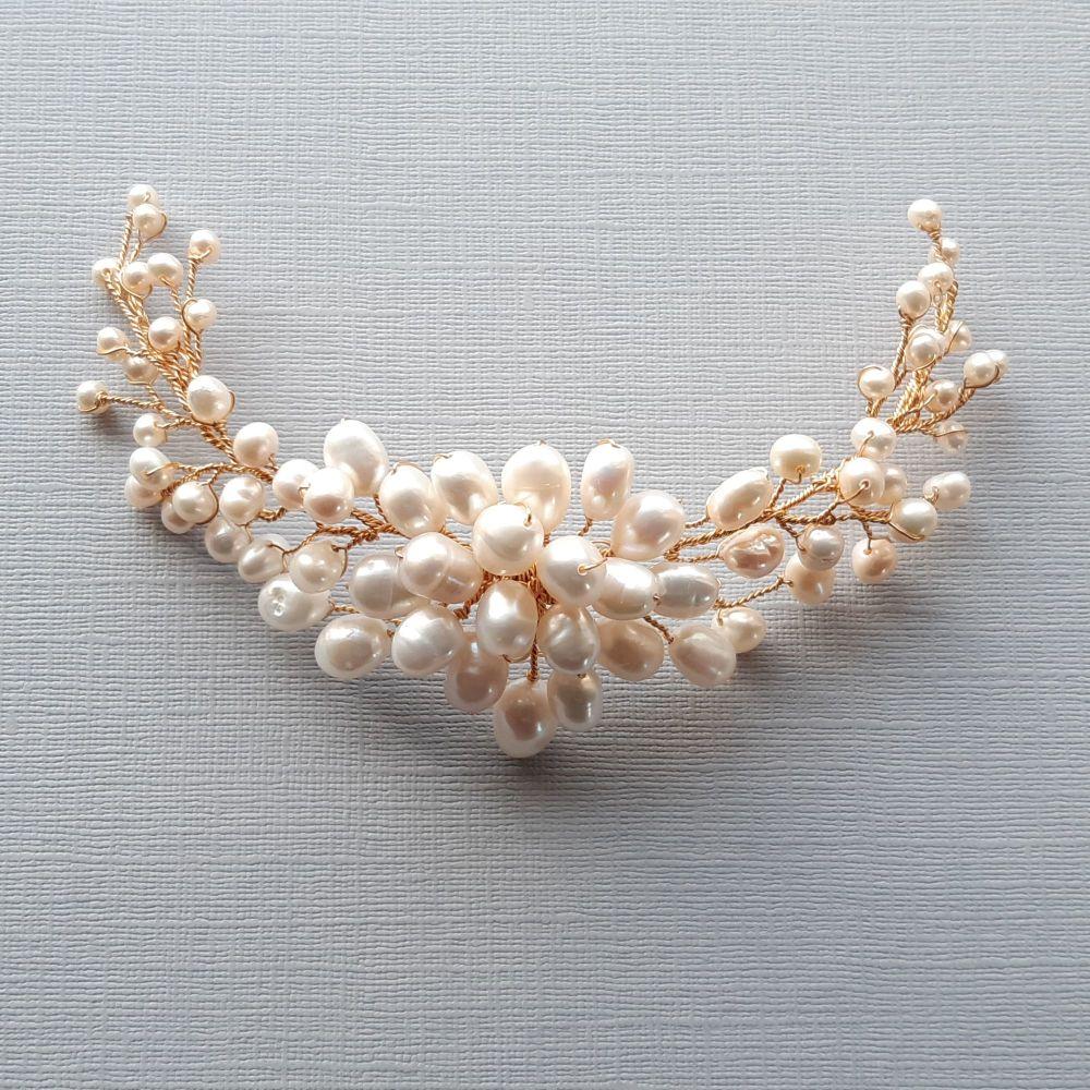 Fresh water pearl bridal hair accessory-Bridget.22shop