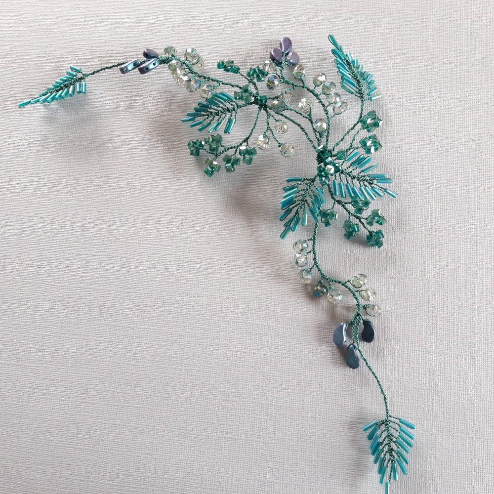 Signature teal colour leaf hair accessory headpiece-vine-Diana-1