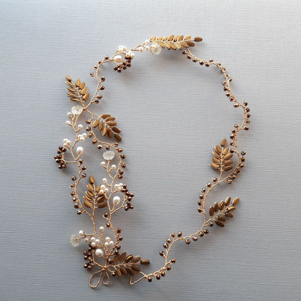 Signature golden brown leaf & pearl floral vine garland -Elizabeth-1.2