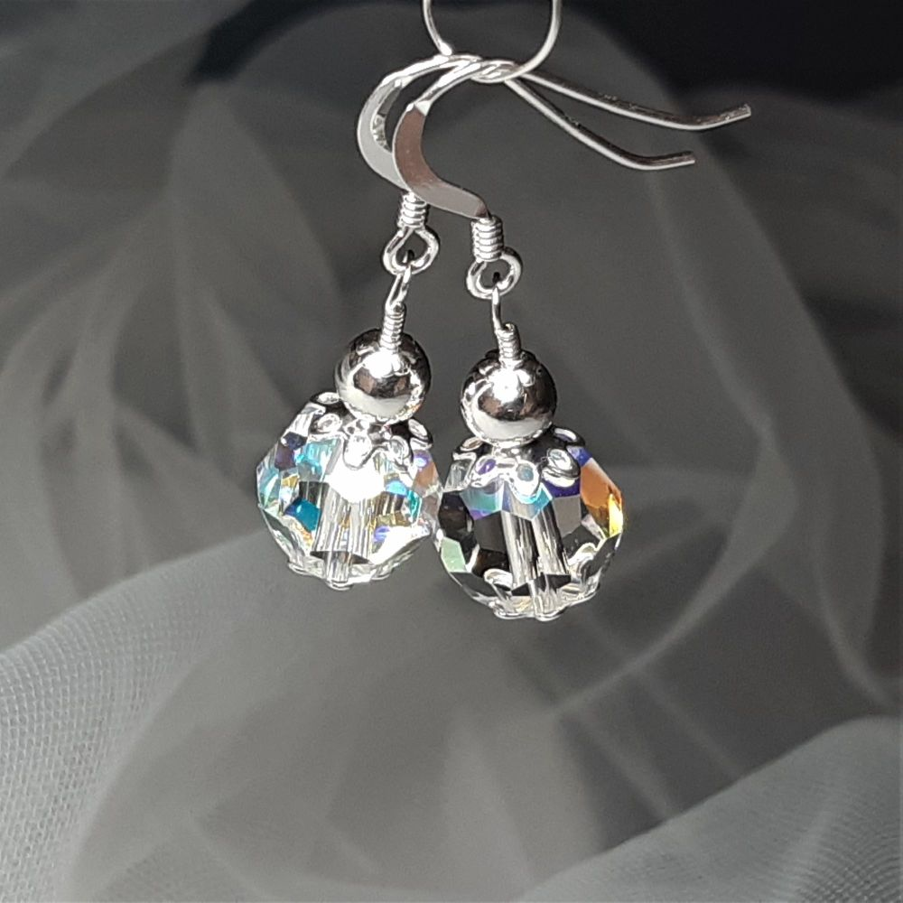 Swarovski Crystal & sterling silver wedding-occasion earrings-KLYACRYSABSS10