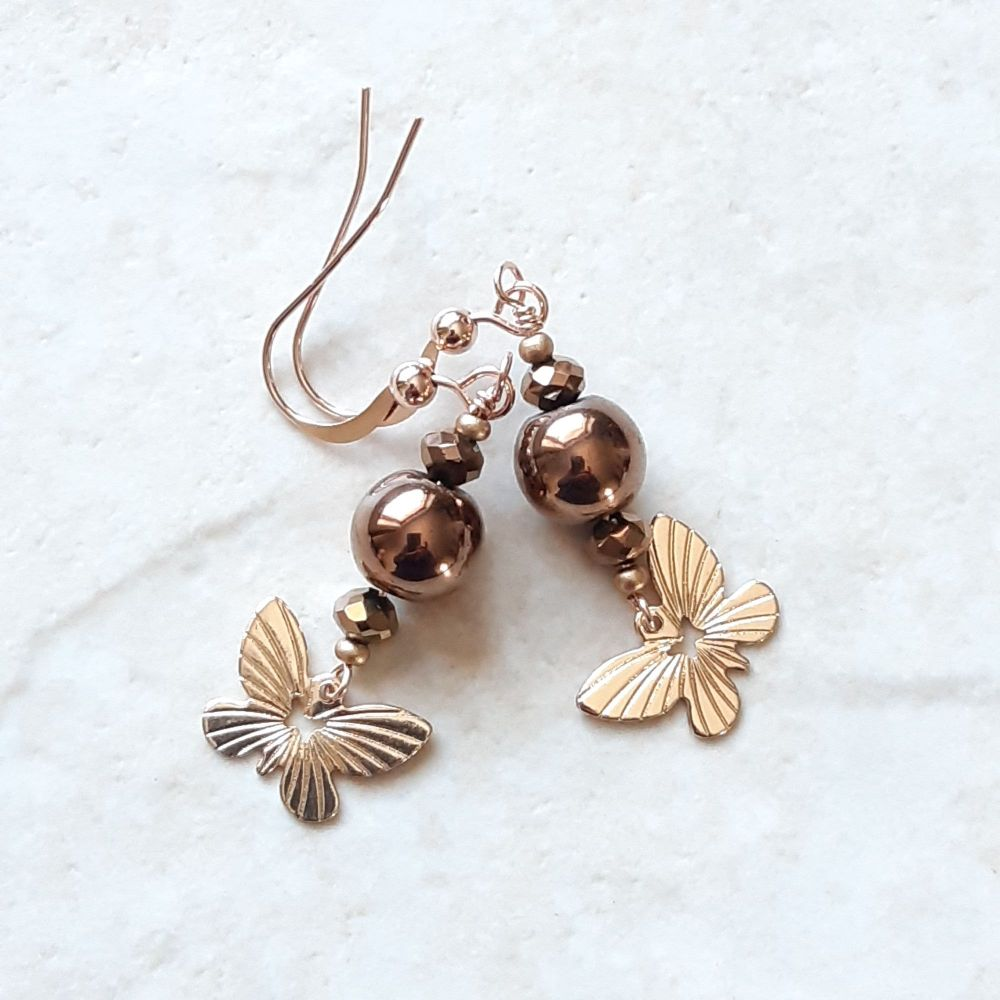 Occasion earrings-Brown pearl with gold filled butterfly-BRNPRLBTFLY-1