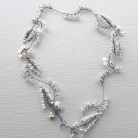Cream white leaf & Swarovski bridal hair vine-0- 1-Diana