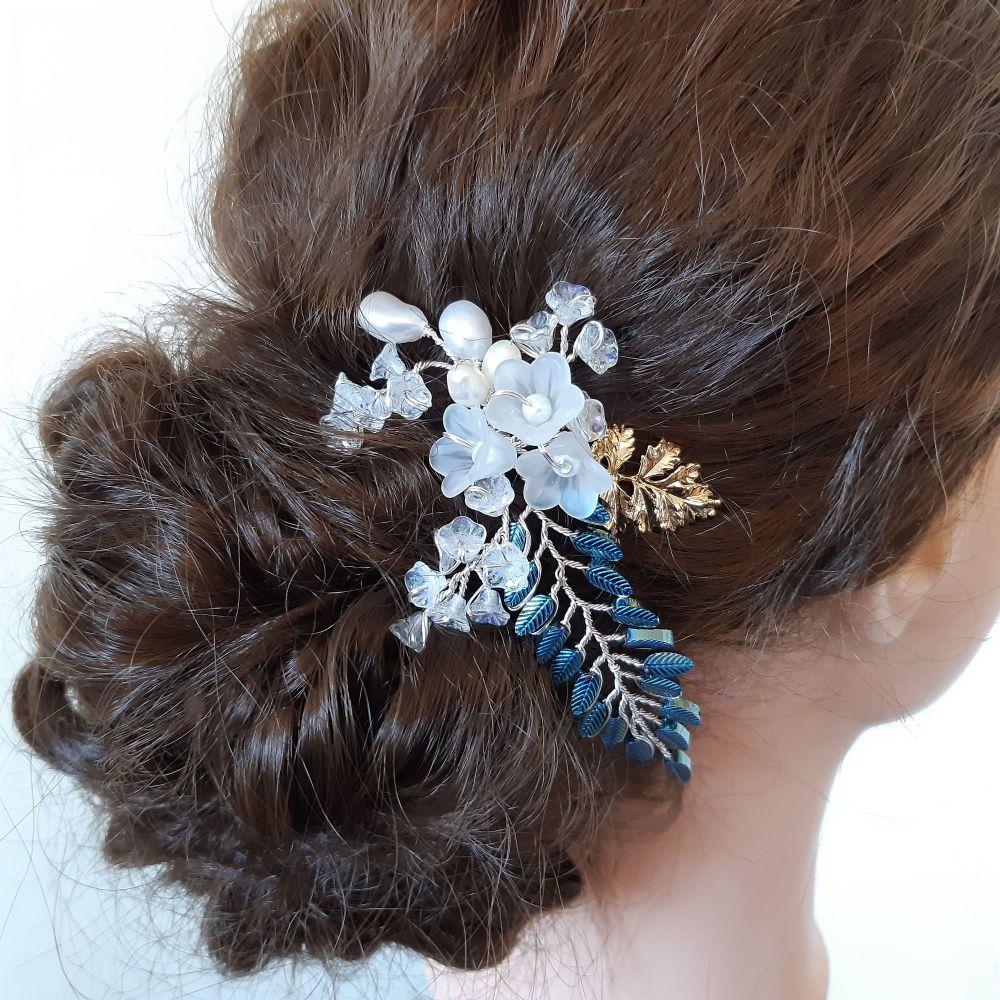 Weddin-Occasion 18k goldleaf hair pin accessory-Carmel.1