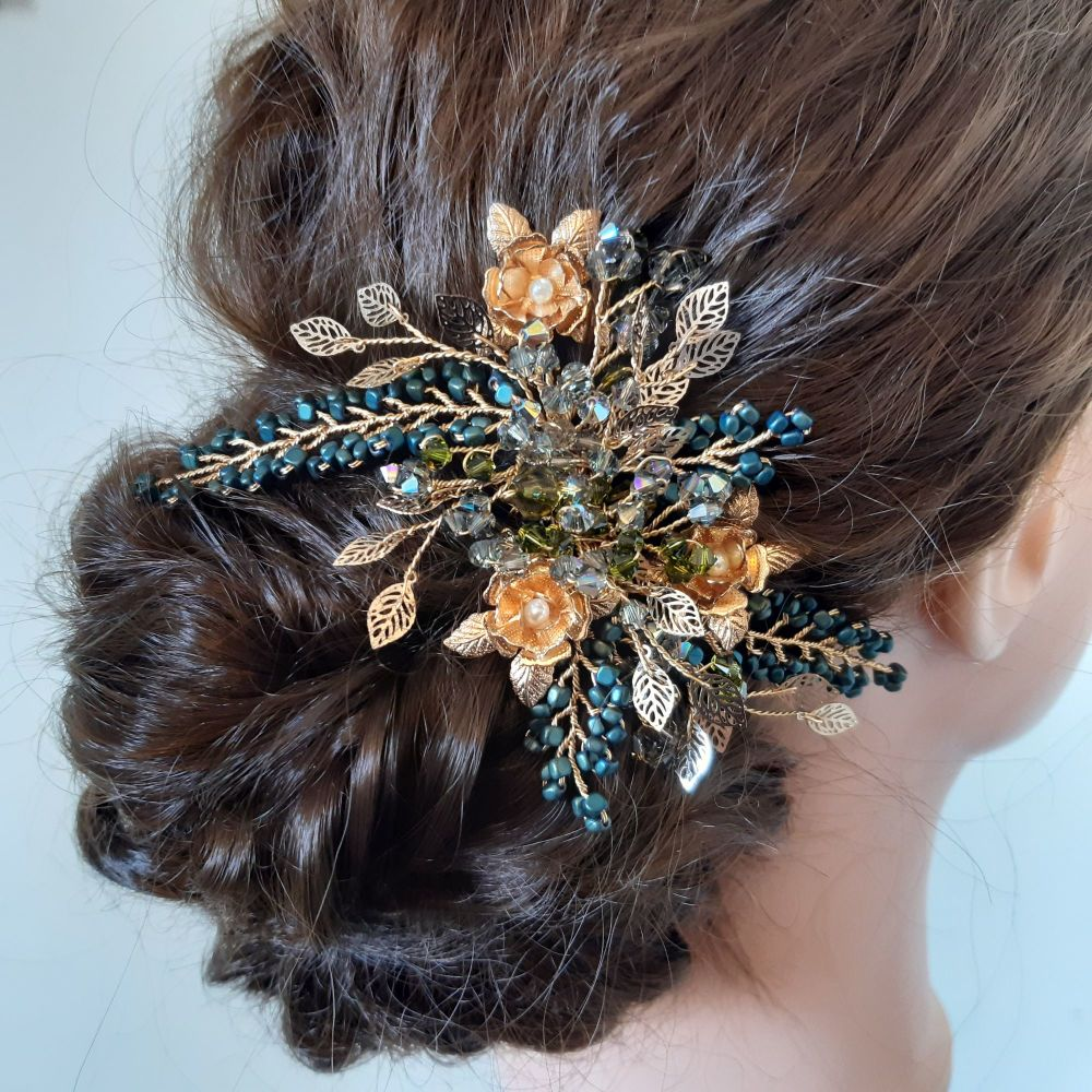 Intricate-flower-floral-occasion-hair-accessories-UK-Emerald Green.1