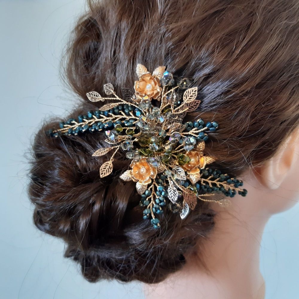 An intricate Signature floral hair accessory for all occasions-0A-BBS- Emer