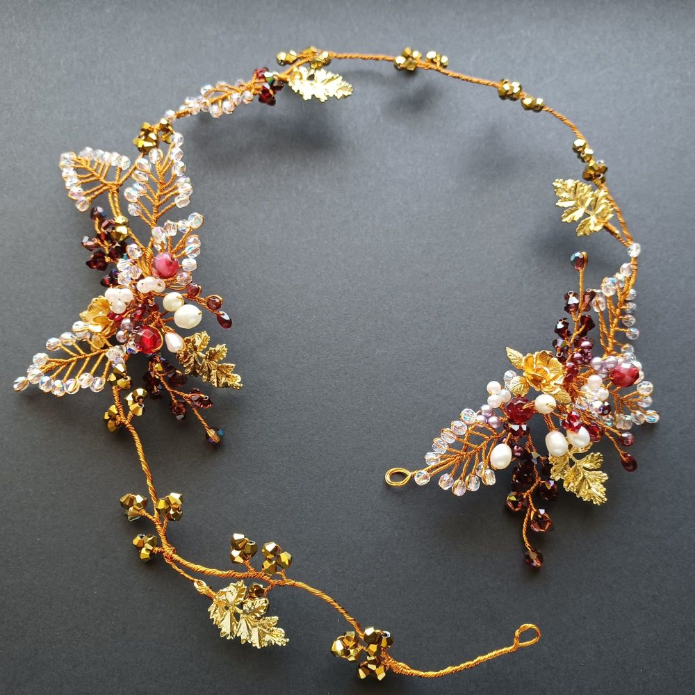 Signature-burgundy and white floral occasion headpiece-0A-BBS-Roseanne-2