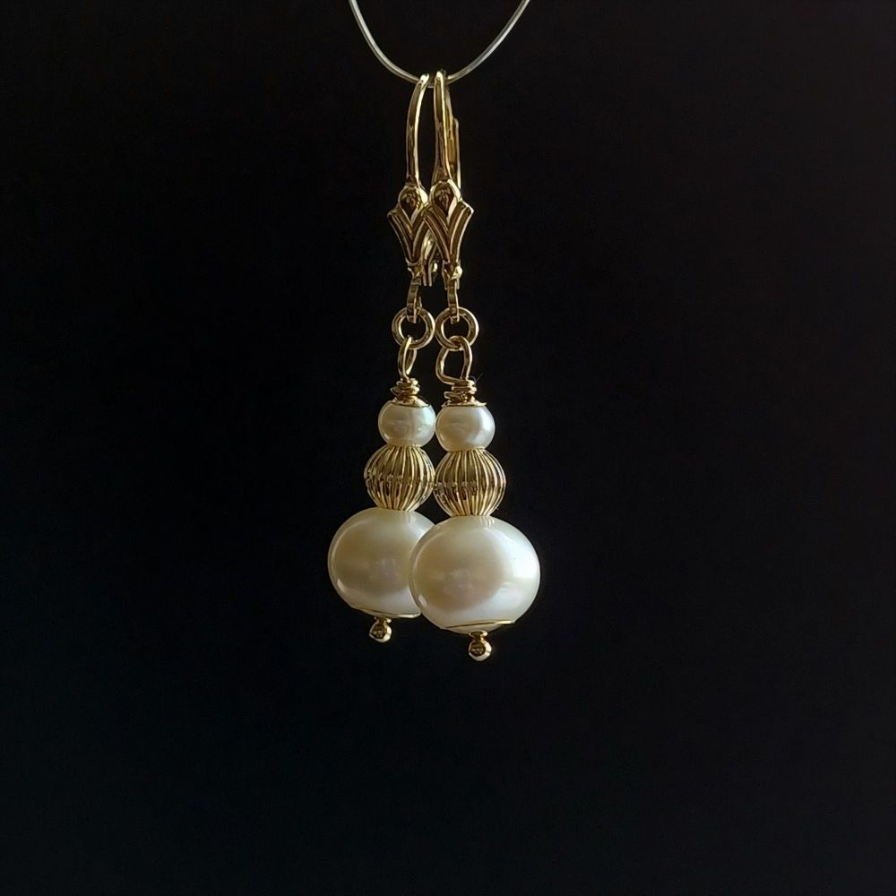 14k gold and fresh water pearl bridal earrings-14KGFWPBE-172620-1