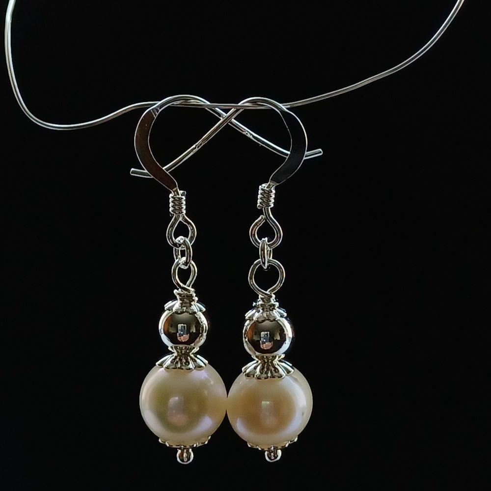 Fresh water pearl and sterling silver bridal-wedding earrings-SSFWPARL8-9-WBKP