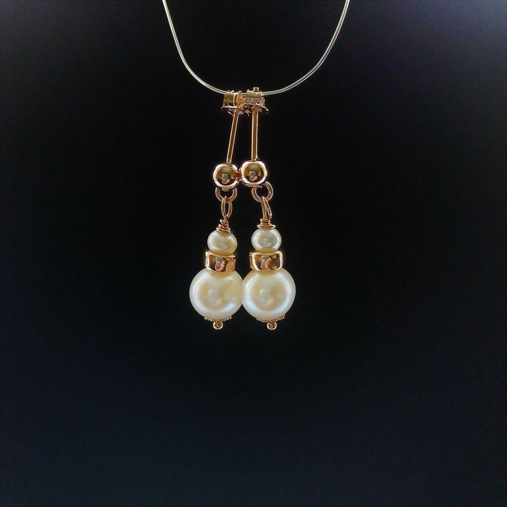 Fresh water pearl and rose gold bridal wedding earrings-FWARPRLRZGLD8-9-3