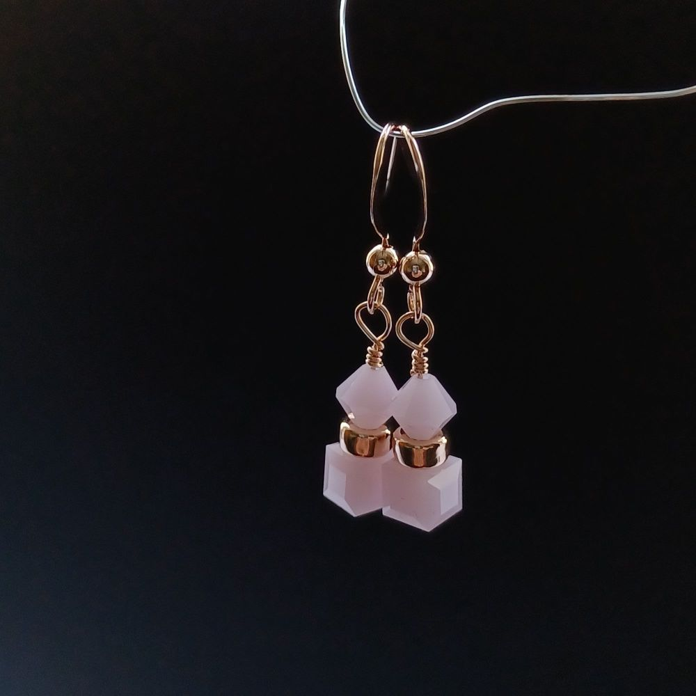 Pink Alabaster & Rose Gold Occasion Earrings-ALBCTRZGLD6-6