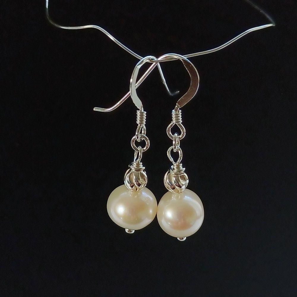 Fresh water pearl and sterling silver bridal-wedding earrings-SSFWPARL8-9-NKP