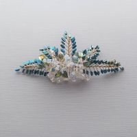 Signature opal white and blue occasion and wedding headpiece -0A-BBS-Opal white