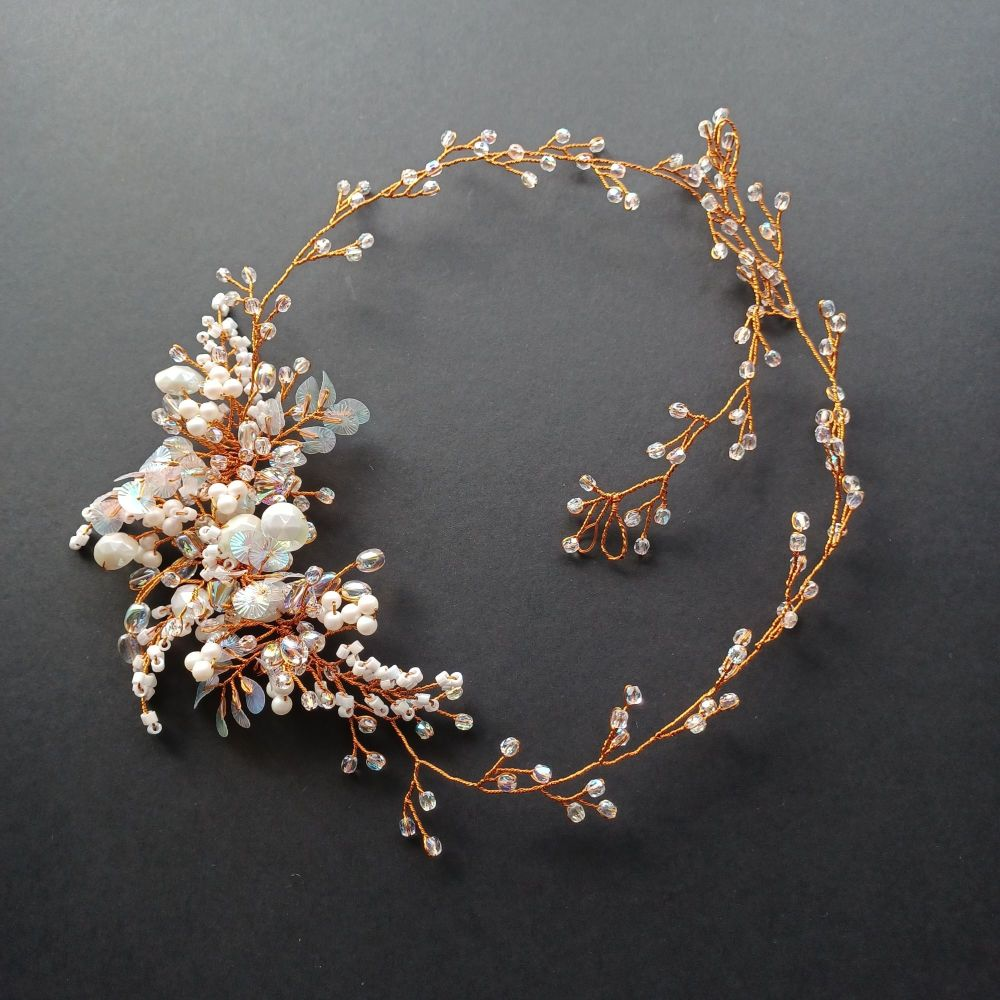 Signature-irridescent finely woven floral occasion hair vine accessory-0A-BBS-Roxanne