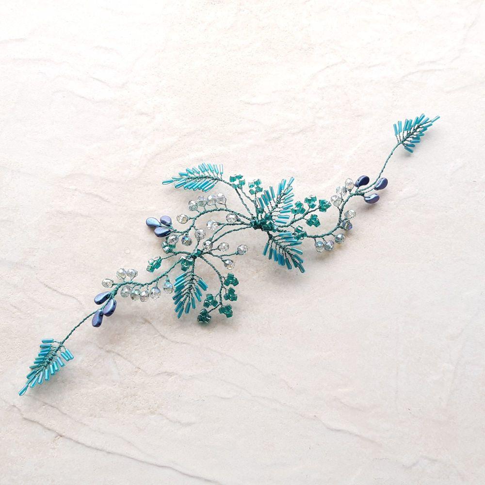 Signature-occasion hair vine -0A-BBS-Moira-aqua blue -teal