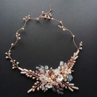 Signature-soft pink pearl and rose gold  irridescent floral headpiece-0A-BBS-Serena