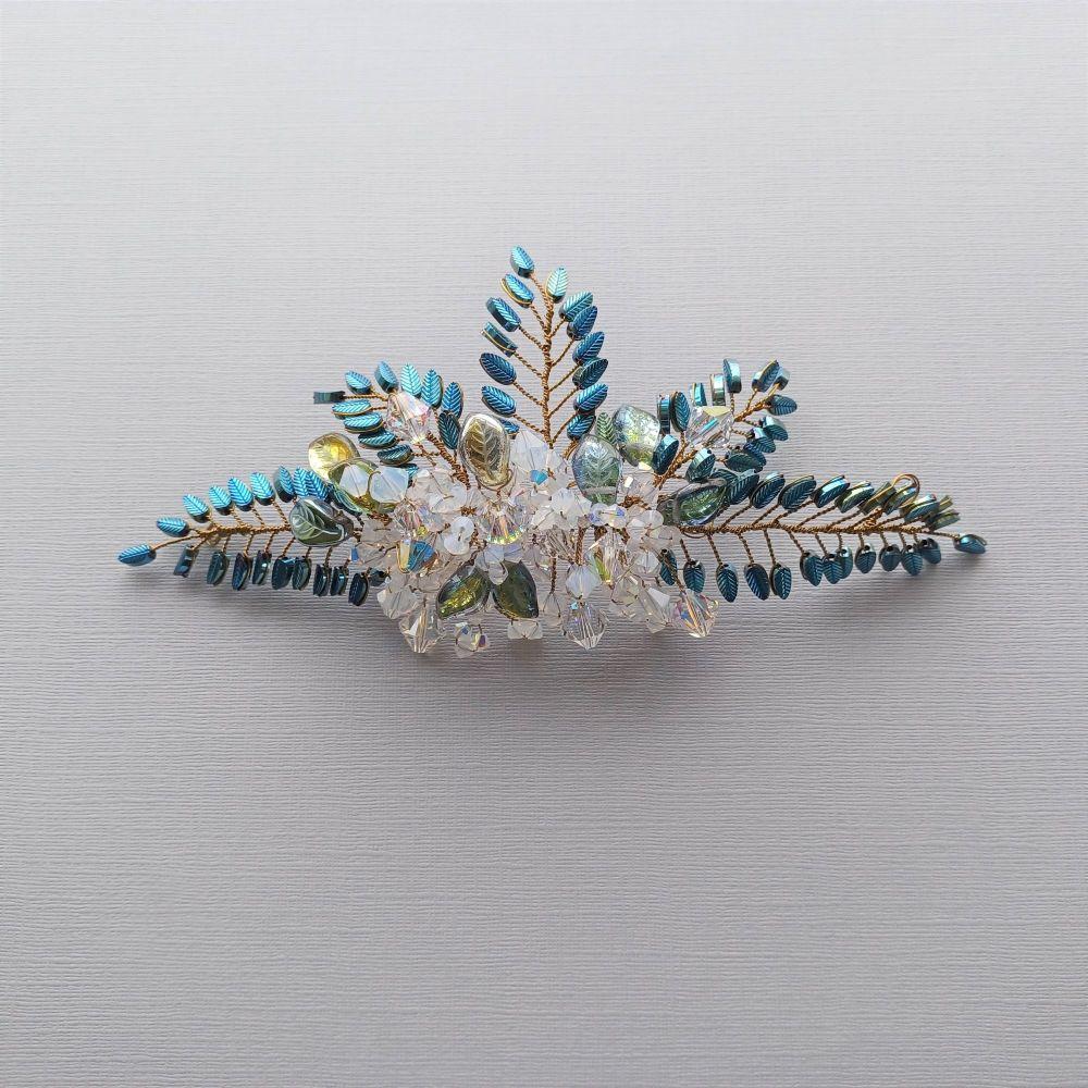 Blue leaf and opal white bridal hair accessory-Opal white-1
