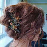 An intricate Signature floral hair accessory for all occasions-0A-BBS- Emerald green