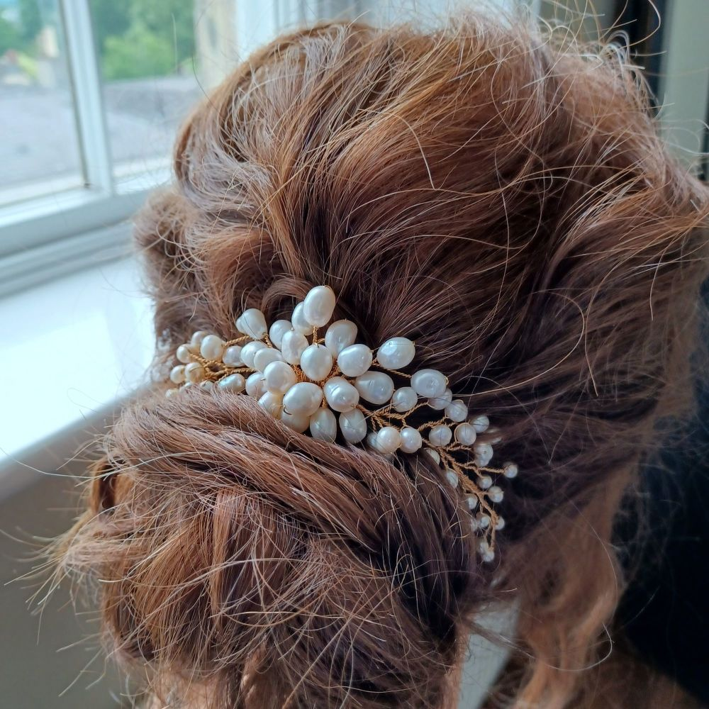 A bridal hair accessory entirely made with fresh water pearls-0- 1- Bridget