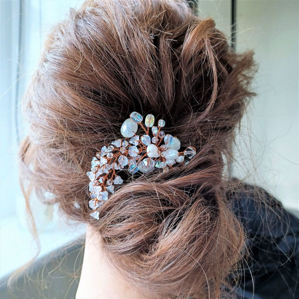 White flower and pearl bridal hair accessory-A3-Snow flake