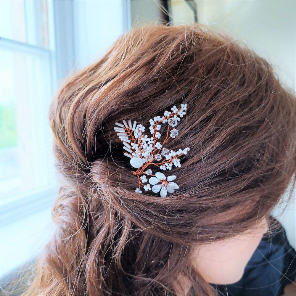 White flower bridal hair pin-Tania.1