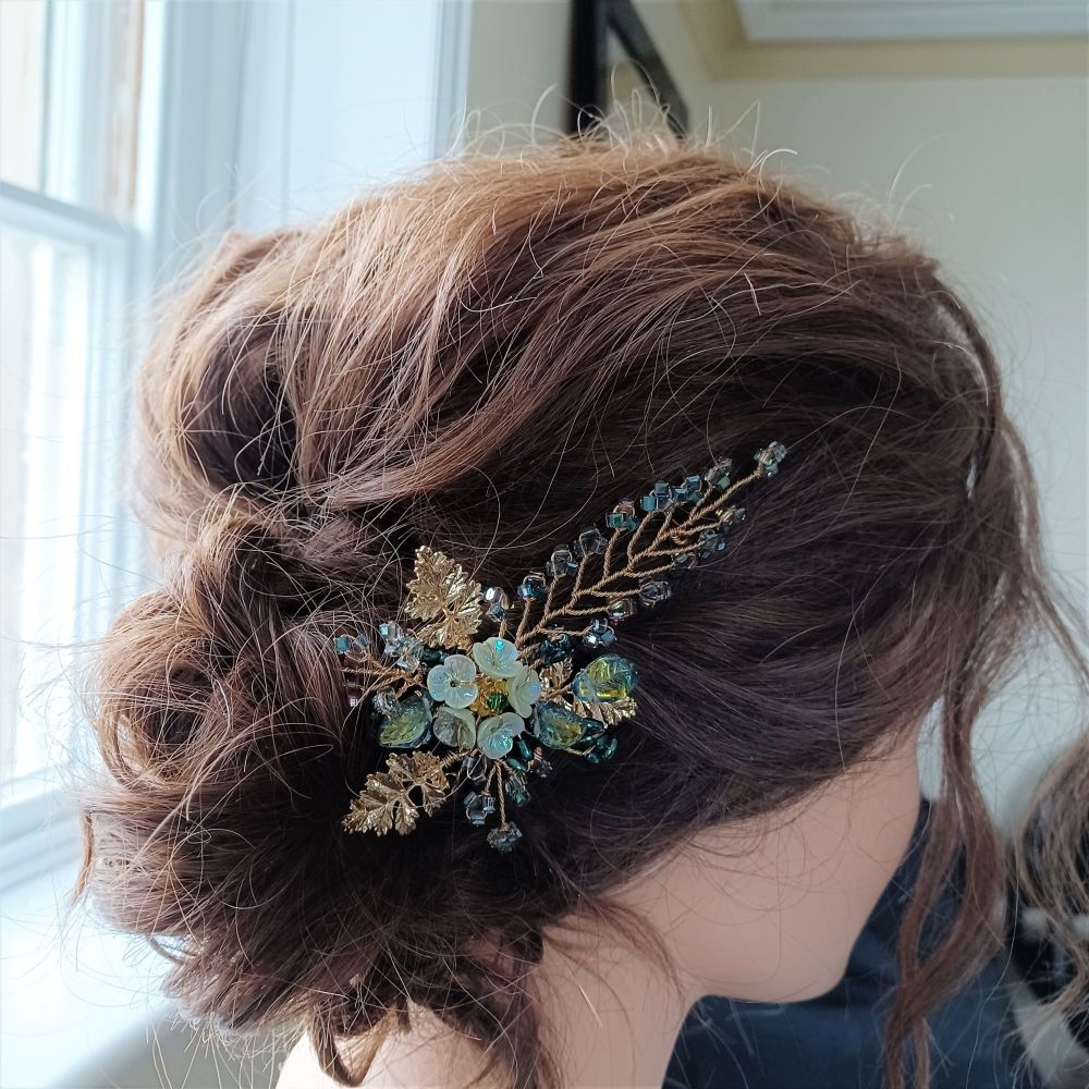 Signature floral occasion hair accessory in lime green with18k gold leaves-
