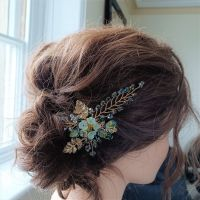 Signature floral occasion hair accessory in lime green with18k gold filled leaves-0A-BBS-Athena-1