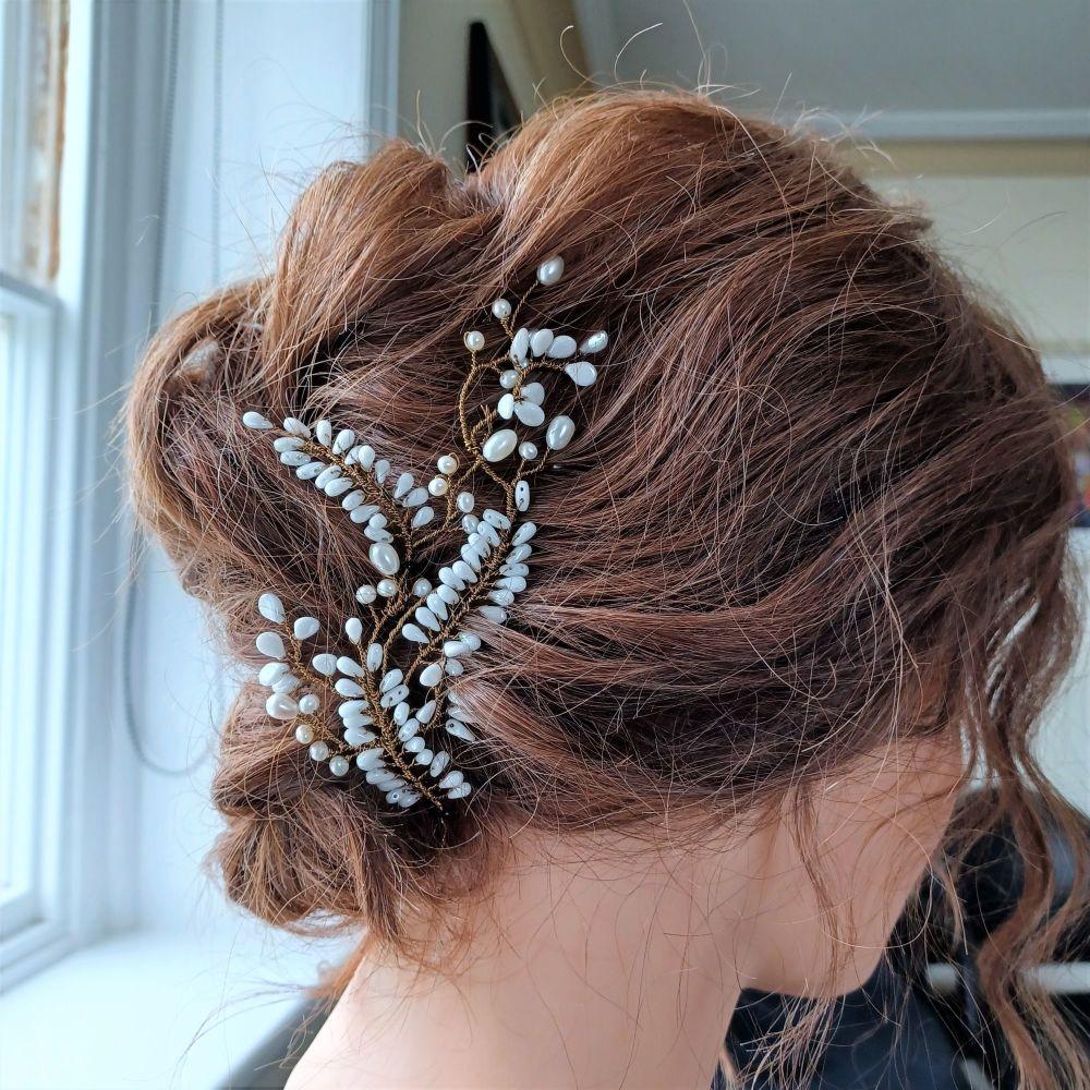 Signature white floral bridal hair vine -0A-BBS-1-Cleopatra.2.white