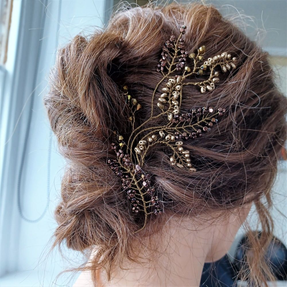Signature brown floral occasion hair vine -0A-BBS-1-Cleopatra.2.brown