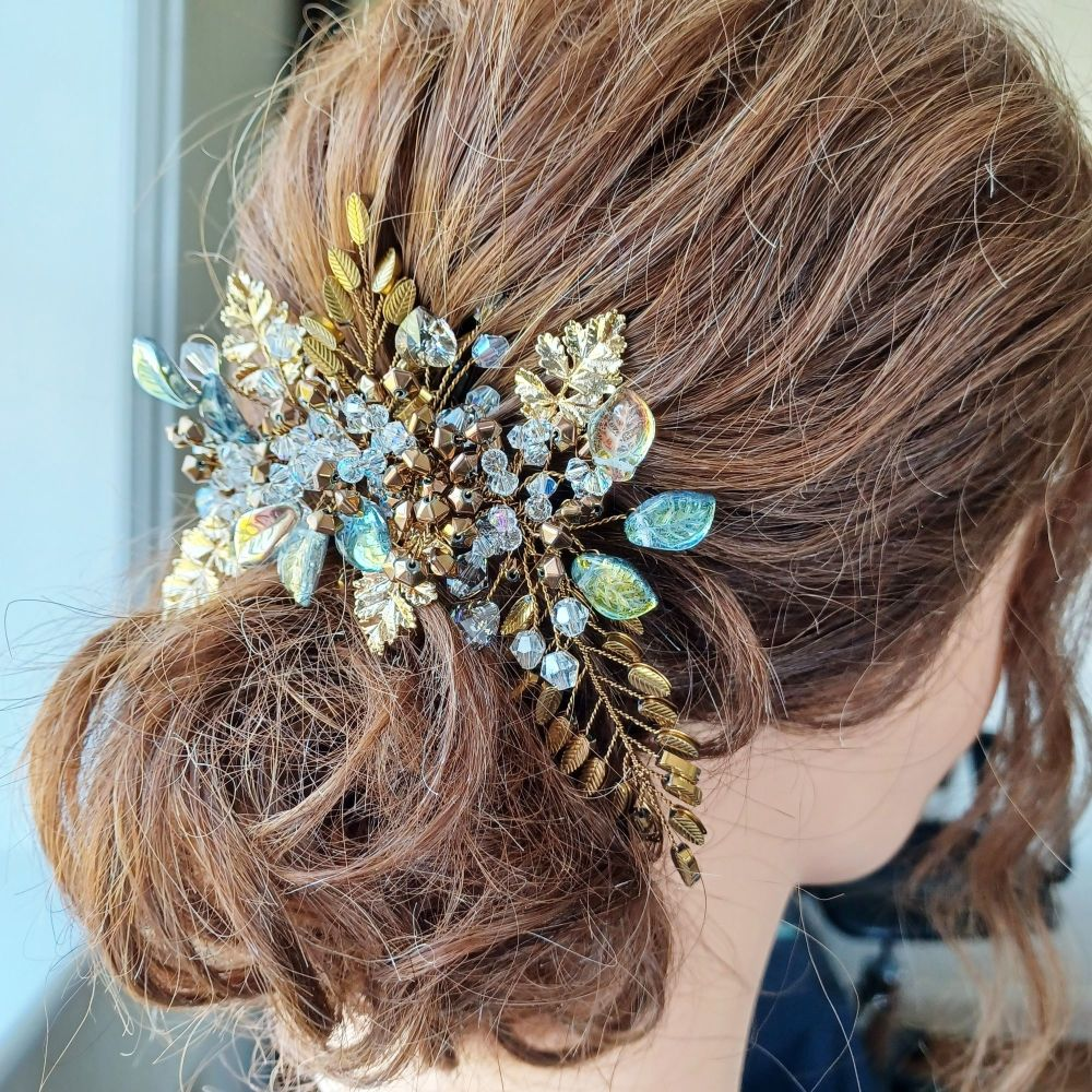 Signature- autumnal colours & gold leaf headpiece-0A-BBS-goden brown